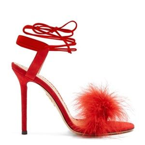 Charlotte Olympia Salsa feather trimmed sandals